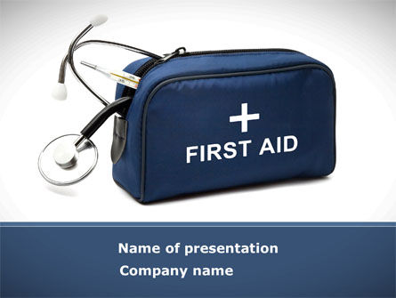 Medical: First Aid Kit Blue Box PowerPoint Template #08569