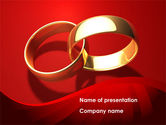 Holiday/Special Occasion: Wedding Rings On A Bright Red Background PowerPoint Template #08582