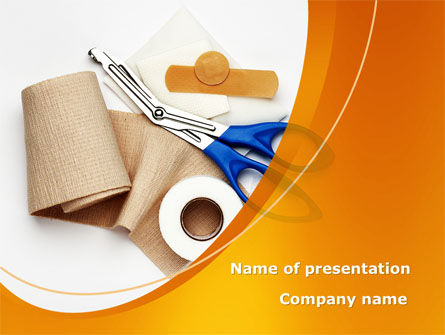 Bandage And Scissors PowerPoint Template, 08613, Medical — PoweredTemplate.com