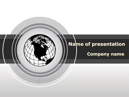 Globe In A Grayscale PowerPoint Template, 08663, Global — PoweredTemplate.com