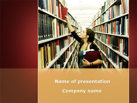 Bookshelves of Library Free PowerPoint Template, 08664, Education & Training — PoweredTemplate.com