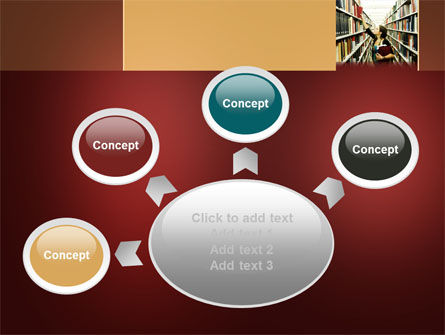 Free Bookshelves of Library PowerPoint Template Slide 7