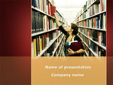 Education & Training: Free Bookshelves of Library PowerPoint Template #08664