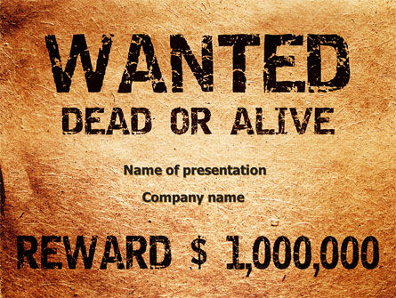 Wanted Criminal PowerPoint Template, 08672, Legal — PoweredTemplate.com