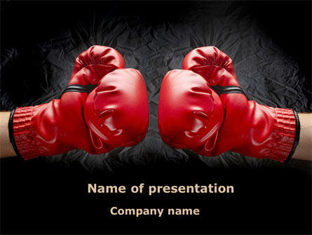 Red Boxing Gloves PowerPoint Template, 08680, Business Concepts — PoweredTemplate.com