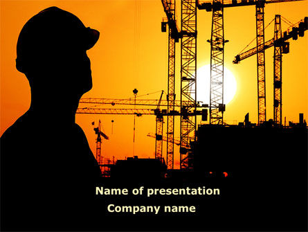 City Silhouette On The Sunset PowerPoint Template, 08682, Construction — PoweredTemplate.com