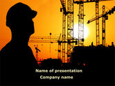 Construction: City Silhouette On The Sunset PowerPoint Template #08682