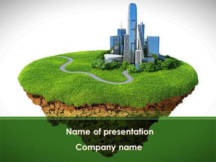 Construction: Green Downtown PowerPoint Template #08688