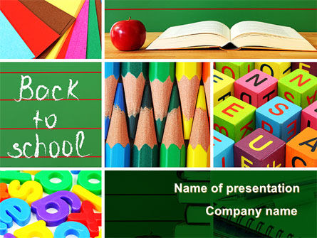 School Stationery For Learning Process PowerPoint Template, 08715, Education & Training — PoweredTemplate.com