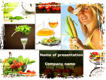 Healthy Food Basket PowerPoint Template, 08727, Food & Beverage — PoweredTemplate.com
