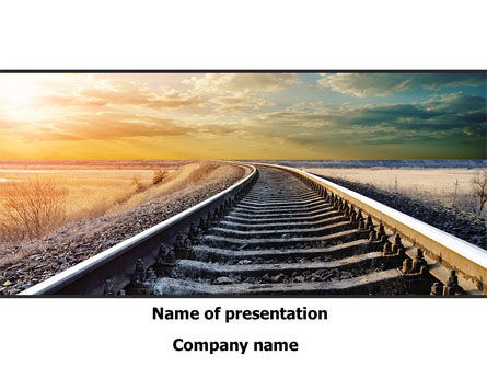 Construction: Railroad Stretching Into The Distance PowerPoint Template #08736