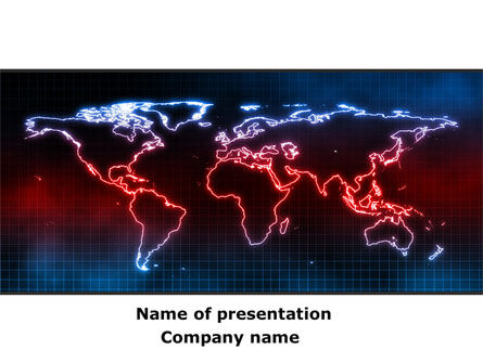 Neon Light World Map PowerPoint Template, 08740, Global — PoweredTemplate.com
