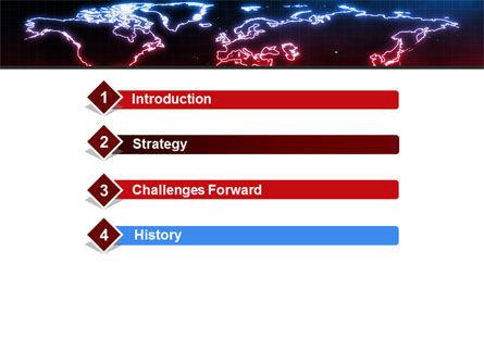 Neon Light World Map PowerPoint Template, Slide 3, 08740, Global — PoweredTemplate.com