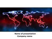 Global: Neon Light World Map PowerPoint Template #08740