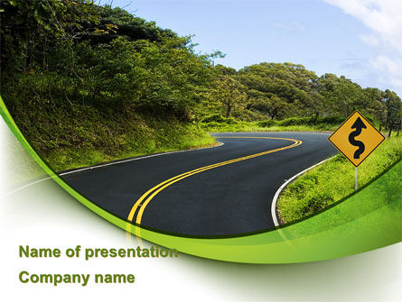 Construction: Long And Winding Road PowerPoint Template #08761