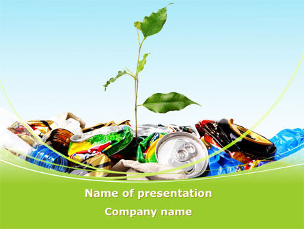 Nature & Environment: Seed Sprouting Through The Trash PowerPoint Template #08763