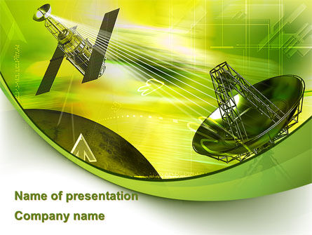 Telecommunication: Satellite Communication PowerPoint Template #08786