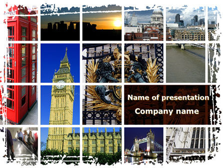 Vacation In London PowerPoint Template, 08836, Flags/International — PoweredTemplate.com