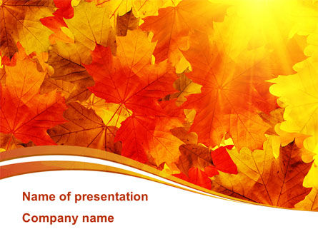 Red Leaves in Fall PowerPoint Template, 08841, Nature & Environment — PoweredTemplate.com