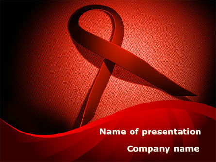 Medical: Red Ribbon Awareness PowerPoint Template #08856