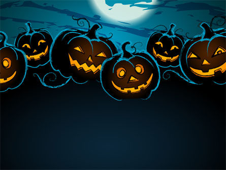 Blue Halloween Night Free PowerPoint Template, 08867, Holiday/Special Occasion — PoweredTemplate.com