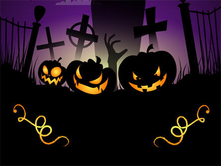 Free Violet Halloween Night PowerPoint Template