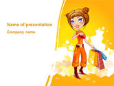 Holiday/Special Occasion: Lady Shopper PowerPoint Template #08876