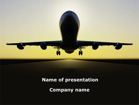 Cars and Transportation: Jet Airliner PowerPoint Template #08883