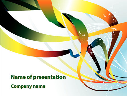 Abstract/Textures: Abstract Yellow Orange Green Stripes PowerPoint Template #08893