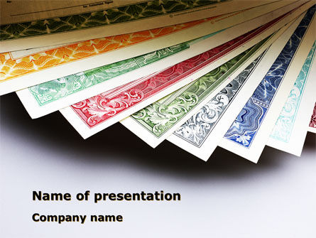 Financial/Accounting: Dollar Certificate PowerPoint Template #08894