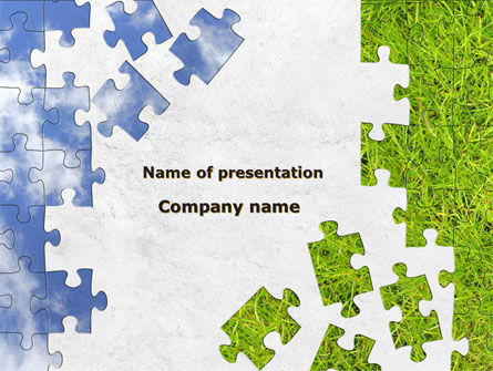 Sky And Grass Puzzle Powerpoint Template Backgrounds
