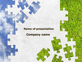 Nature & Environment: Sky and Grass Puzzle PowerPoint Template #08918