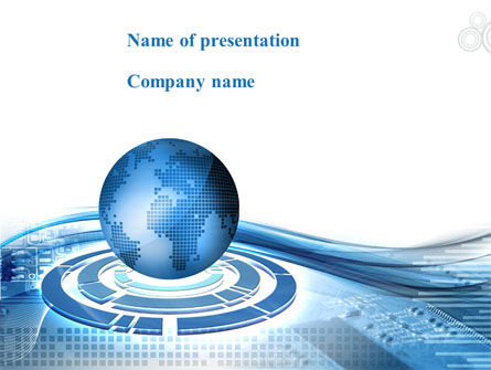 Global: Blue Tech Globe PowerPoint Template #08924