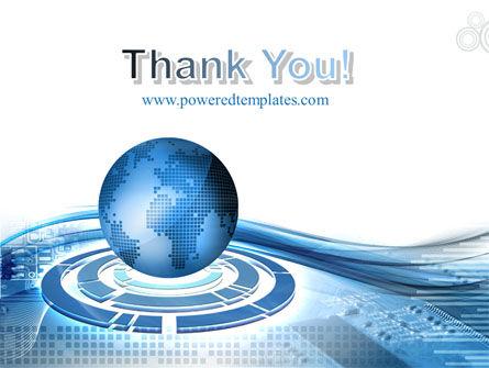 Blue Tech Globe PowerPoint Template Slide 20