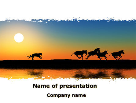 Nature & Environment: Savannah Sunset PowerPoint Template #08927