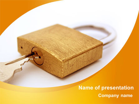 Careers/Industry: Brass Padlock PowerPoint Template #08930