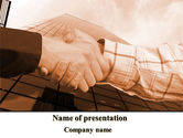 Business: Handshake In Sepia PowerPoint Template #08941