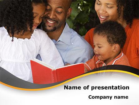 People: Happy Family Reading Bible PowerPoint Template #08942