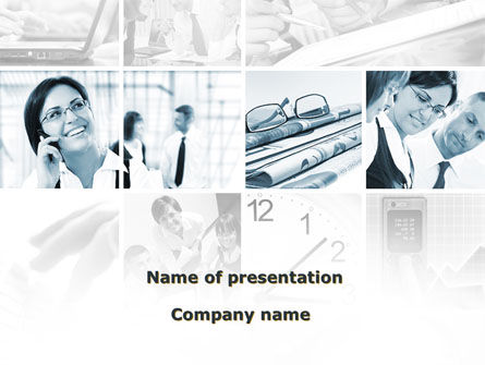 People: Office Life In A Light Blue Colors PowerPoint Template #08952