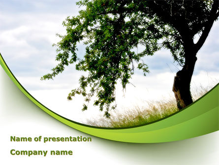 Green Tree PowerPoint Template, 08958, Nature & Environment — PoweredTemplate.com