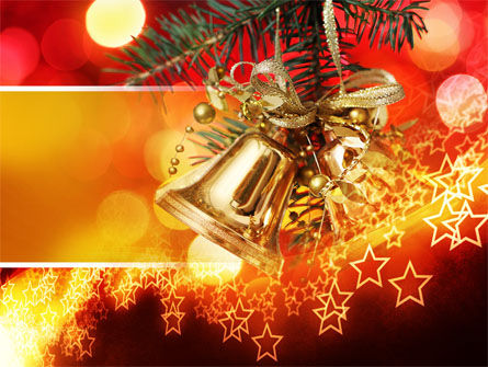 Holiday/Special Occasion: Bells On Christmas Tree PowerPoint Template #08969