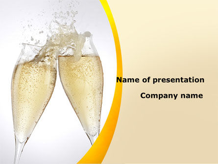 Splash Of Champagne PowerPoint Template, 08980, Food & Beverage — PoweredTemplate.com