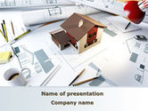 Construction: Brown Roof Cottage Construction PowerPoint Template #08989