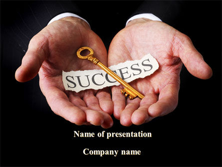 Business Concepts: Key To Success In Your Hands PowerPoint Template #08995