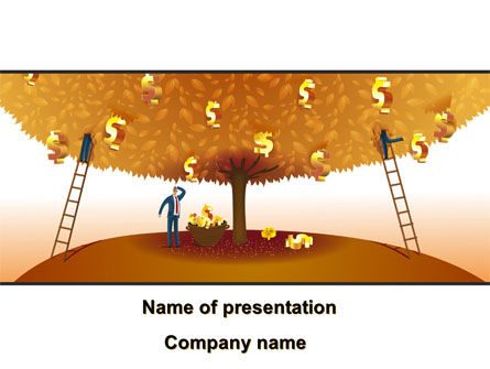 Money Tree in Orange PowerPoint Template