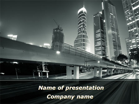 Construction: Night City Traffic PowerPoint Template #09013