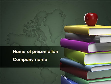 Books Stack and Apple PowerPoint Template, 09018, Education & Training — PoweredTemplate.com