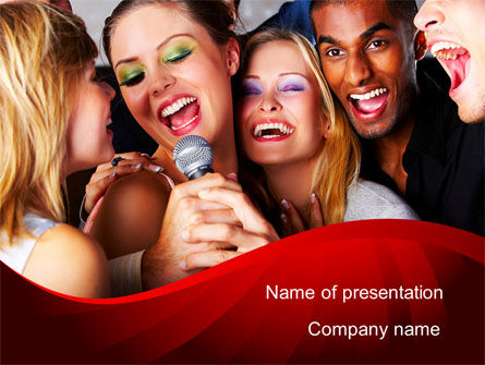 Art & Entertainment: Karaoke Party PowerPoint Template #09034