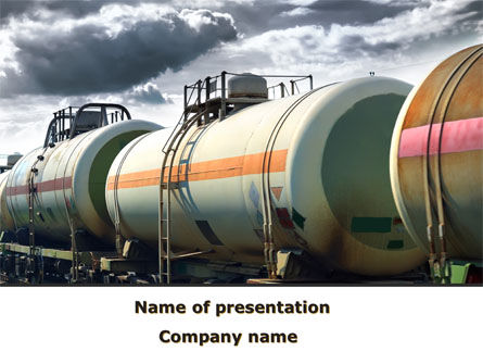 Rail Tank Cars PowerPoint Template, 09036, Cars and Transportation — PoweredTemplate.com