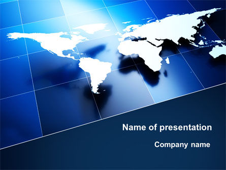 Deep Blue World Map PowerPoint Template, 09046, Global — PoweredTemplate.com